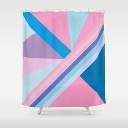 Trendy modern pink blue abstract pattern  Shower Curtain