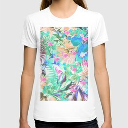 Trendy tropical teal pink floral flamingo T-shirt