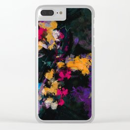 Purple and Yellow Abstract / Surrealist Painting Clear iPhone Case