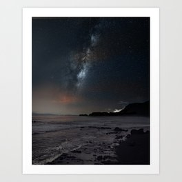 milky way Galaxy beach Art Print