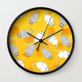 mice on cheese Wall Clock