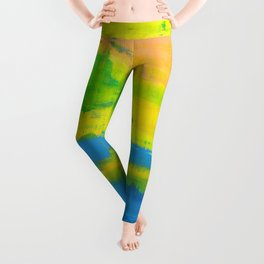 'A Sunny Day' Yellow Coral Blue Abstract Art Leggings