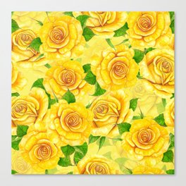 Yellow watercolor roses pattern Canvas Print