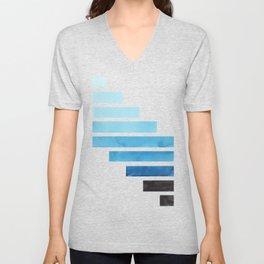 Cerulean Blue Midcentury Modern Minimalist Staggered Stripes Rectangle Geometric Aztec Pattern Water Unisex V-Neck