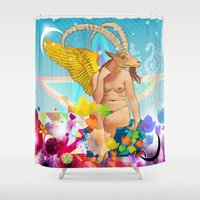 baphomet Shower Curtains featuring Baphomet by rodalume