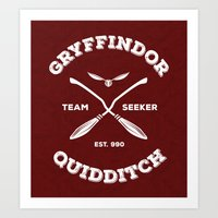 gryffindor Art Prints featuring Gryffindor Quidditch by Sharayah Mitchell