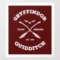 quidditch Art Prints featuring Gryffindor Quidditch by Sharayah Mitchell