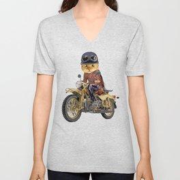 Cat riding motorcycle Unisex V-Neck
