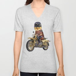 Cat riding motorcycle Unisex V-Neck