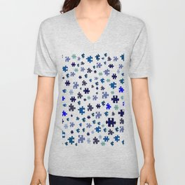 Jigsaw pieces of bluish colors. Unisex V-Neck