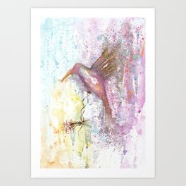 Hummingbird Watercolor Illustration Art Print