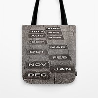 calendar Tote Bags featuring Calendar Walk by Ethna Gillespie