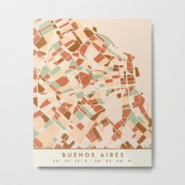 BUENOS AIRES ARGENTINA CITY MAP EARTH TONES Metal Print