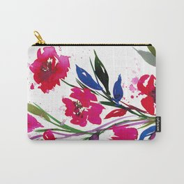 POCKETFUL OF POSIES 1, Colorful Summer Watercolor Floral Painting Abstract Red Blue Pink Flowers Art Carry-All Pouch