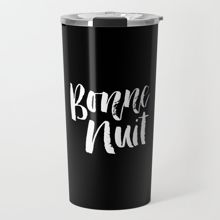 Bonne Nuit Bedroom Wall Art in Black and White Watercolor Travel Mug