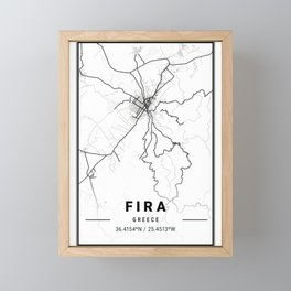 Fira Light City Map Framed Mini Art Print