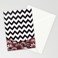 Floral Chevron. Stationery Cards