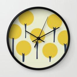 Yellow Pop Trees Wall Clock