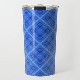 Blue plaid 3 Travel Mug