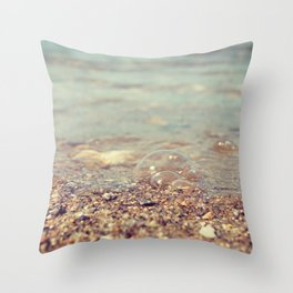 Bubbles on the Beach Throw Pillow