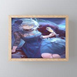 anime anime girls digital artwork 2D portrait display vertical mashu_003 Fate Series FGO Jeanne d'Arc (Fate) Jeanne (Alter) (Fate/Grand Order) blue hair long hair braids yellow eyes dress Framed Mini Art Print
