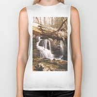 mineral Biker Tanks featuring Mineral Springs Falls by Mel O'Donohue