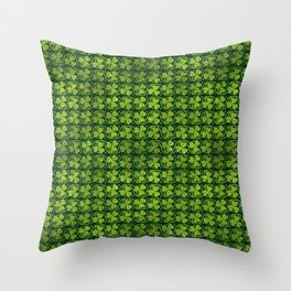 Irish Shamrock -Clover Green Glitter pattern Throw Pillow