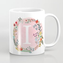 Flower Wreath with Personalized Monogram Initial Letter I on Pink Watercolor Paper Texture Artwork Coffee Mug
