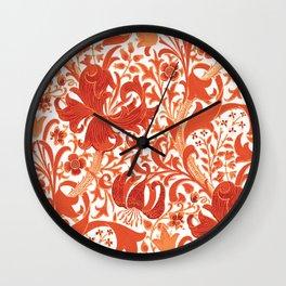 William Morris Iris and Lily, Mandarin Orange Wall Clock