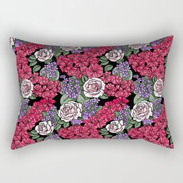 Chevron Floral Black Rectangular Pillow