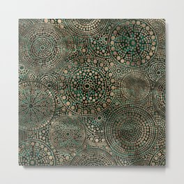 Dot Art Circles Malachite and Gold Metal Print