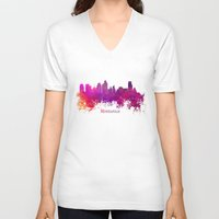 minneapolis V-neck T-shirts featuring Minneapolis skyline purple by jbjart
