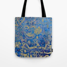 Mexican gold on blue Tote Bag