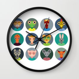 Chinese zodiac collection, Set of animals faces circle icons in Trendy Flat Style Wall Clock