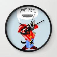 rap Wall Clocks featuring Cat's rap by Bakal Evgeny