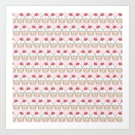 Cherry Cupcakes - Pink Doodle Pattern Art Print
