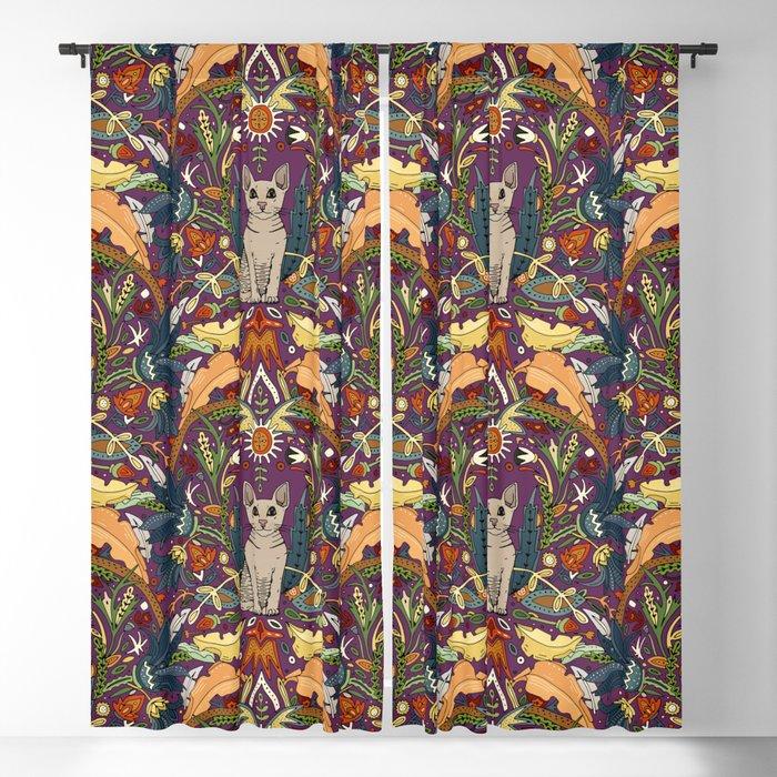 Peterbald cat damask purple Blackout Curtain