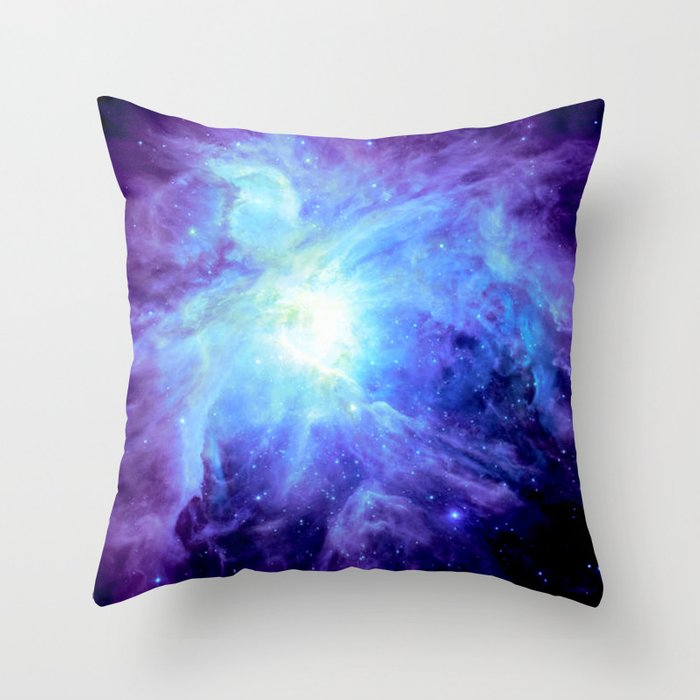 Nebula Purple Periwinkle Blue Throw Pillow