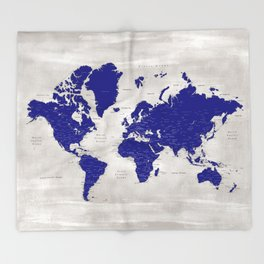 """Navy blue and grey detailed world map, """"Delaney"""" Throw Blanket"""