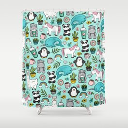 Narwhal and Friends, Emoji Tween Print, Pre-teen Girls, Unicorns, Panda, Llamas and Doughnuts Shower Curtain