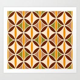 Retro brown ovals geometric elegant pattern brown, orange, cream Art Print