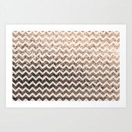 Glitter Sparkly Bling Chevron Pattern (champagne) Art Print