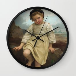 "William-Adolphe Bouguereau ""Sur le rocher (On the rock)"" Wall Clock"
