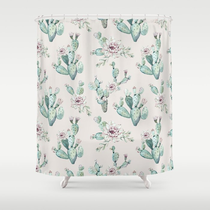 Pretty Cactus Rose Pattern Pale Pink + Green Shower Curtain