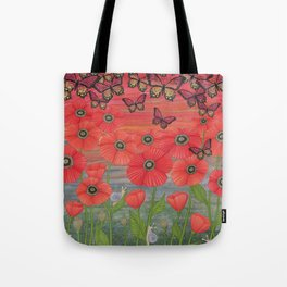 red sky, butterflies, poppies, & snails Tote Bag