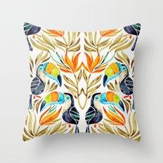 Tropical Toucans – Sepia Palette Throw Pillow