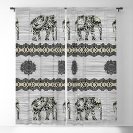 Decorated Indian Elephants Blackout Curtain