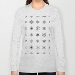 Snowflake Pattern - Black and white winter snowflake pattern artwork Long Sleeve T-shirt