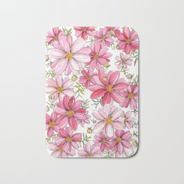 Pink Spring Flower Pattern Bath Mat