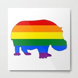 Rainbow Hippopotamus Metal Print
